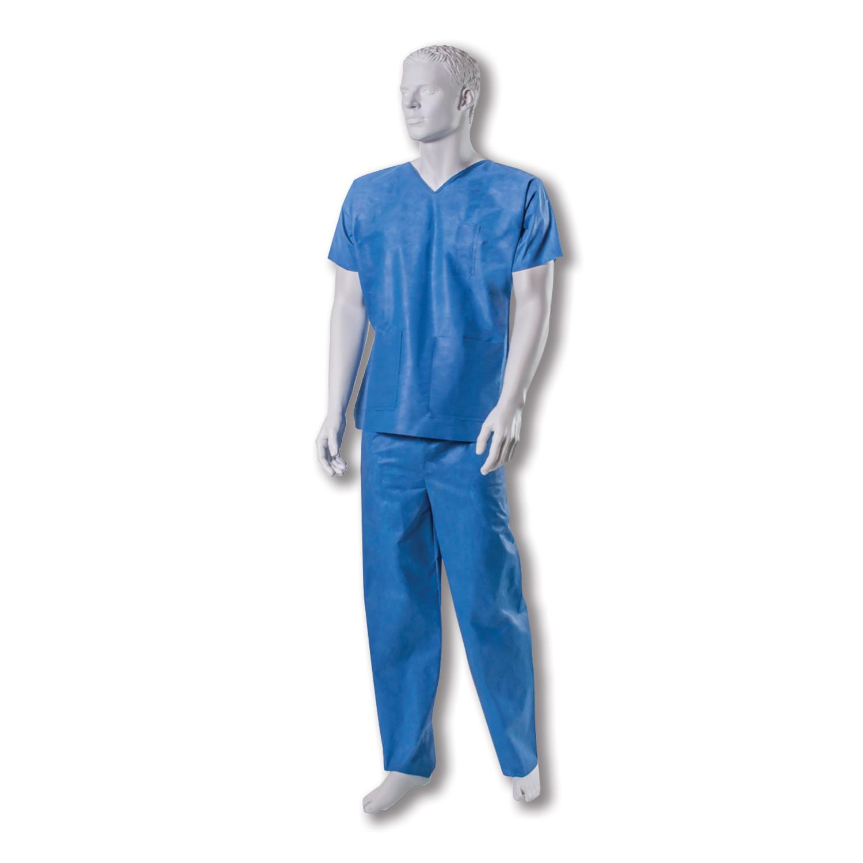 Ubranie operacyjne (bluza z krótkim rękawem i spodnie, włókninowe, niejałowe)